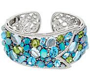 Judith Ripka Sterling 17.00 cttw Gemstone & Opal Doublet Cuff Bracelet - J331025