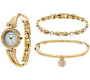 Anne Klein Crystal Bangle Watch and Bracelet Set - J333725