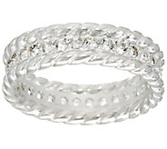 As Is UltraFine Silver White Topaz Eternity Band Ring - J334225