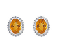 Premier Oval Gemstone & 1/5cttw Diamond Earrings, 14K - J336125