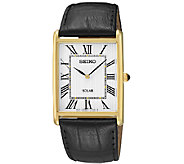 Seiko Mens Rectangular Goldtone Black LeatherStrap Watch - J337525
