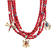 American West Five Strand Red Coral Brass CharmNecklace - J337725