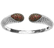 Judith Ripka Sterling Textured & Pave Ruby Cuff - J338025