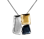 Or Paz Sterling Tricolor Abstract Pendant withChain - J338325