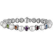Judith Ripka Sterling Cultured Pearl & Multi-Gem 8 Bracelet - J340025