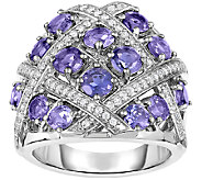 Sterling Iolite & White Zircon Weave Design Ring - J341325