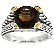 Sterling and 14K Gold Smoky Quartz & Diamond Accent Ring - J342325