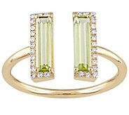 1.00 cttw Peridot and Diamond Accent Split Ring, 14K Gold - J342525