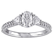 Oval, Heart, & Round Diamond Ring, 1 cttw, 14Kby Affinity - J342625