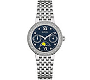 Bulova Diamond Accent Stainless Steel Moon Phase Watch - J343125