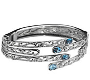 Carolyn Pollack Signature London Blue Topaz Hinged Bangle - J343625