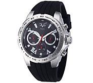 V19.69 Italia Mens Silvertone Watch w/ Black Rubber Strap - J343925
