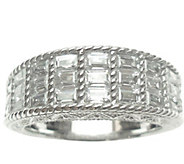 Judith Ripka Sterling & Baguette Diamonique Ring - J344625