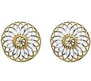 14K Gold Two-tone Flower Disk Earrings - J344825