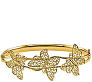 14K Gold Butterfly Hinged Bangle, 9.9g - J344925