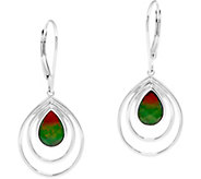 Pear Shaped Ammolite Triplet Sterling Drop Earrings - J346225
