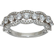Diamonique Multi-stone Scalloped Band Ring, Sterling or 14K Clad - J347125