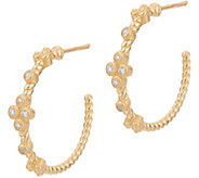 Judith Ripka 14K Gold Bezel Set Diamond Accent Hoop Earrings - J347425