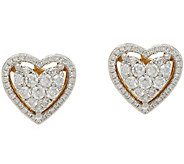 Cluster Diamond Heart Stud Earrings, 14K, 6/10 cttw, by Affinity - J348125