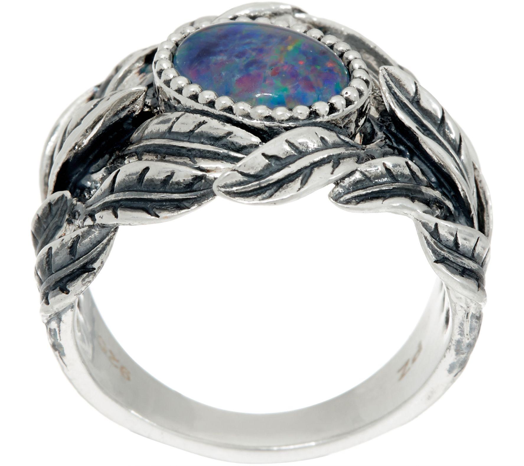 Sterling Silver Australian Opal Triplet Leaf Ring by Paz Page