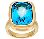 Italian Gold Elongated Cushion Bold Gemstone Ring 14K Gold - J348725