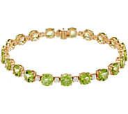 Round Peridot & White Zircon 8 Tennis Bracelet, 14K 16.40 cttw - J348825
