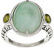Oval Jade & Gemstone Sterling Silver Ring - J349425