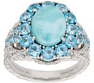 Judith Ripka Sterling Silver Larimar & Blue Topaz Ring - J350725