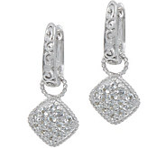 DeLatori Sterling Silver White Topaz Pave Drop Earrings - J352325