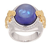 TOVA Diamonique Two-Tone Elephant Cabochon Ring - J353425