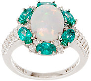 Diamonique and Synthetic Opal Halo Ring, Sterling - J353525