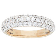 As Is Three Row Pave Diamond Ring, 1.00 cttw, 14k by Affinity - J354425