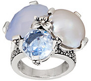 Stephen Dweck Sterling Silver Triple Gemstone Ring - J355025