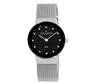 Skagen Womens Silvertone Watch w/ Black ShinyDial - J108126
