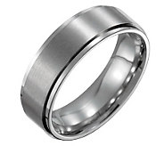 Forza Mens 7mm Steel w/ Ridged Edge SatinPolished Ring - J109526