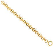 14K Gold 7-1/4 Textured Double Rolo Link Bracelet, 14.3g - J285826