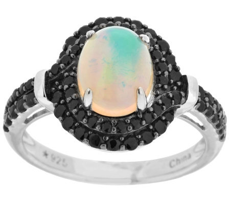 1.70 ct tw Ethiopian Opal & Black Spinel Sterling Ring