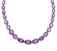 65.00 ct tw Oval Amethyst 18 Sterling Tennis Necklace - J289926
