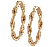 As Is VicenzaGold 1-1/2 Diamond Cut Hoop Earrings, 14K - J290726