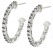 JAI Sterling & Diamonique Croco Textured Hoop Earrings - J291226