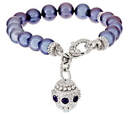 Judith Ripka Sterling Cultured Pearl 6-3/4 Bracelet with Charm - J295426