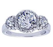 Diamonique Sterling Three-Stone Halo Ring - J311926