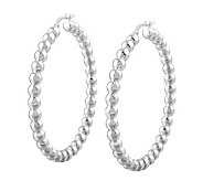 UltraFine Silver 1-7/8 Polished Bead Hoop Earrings - J313526