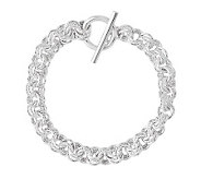Sterling 7-1/2 Polished & Textured Rolo Link Toggle Bracelet - J314726