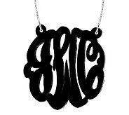 1-1/2 Acrylic Script Monogram Necklace, Sterling - J315226