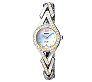Seiko Womens Two-Tone Mother-of-Pearl Swarovski Accent Watch - J315426