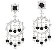 Judith Ripka Sterling & 8.35 cttw Black Spinel Dangle Earrings - J319926