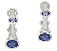Judith Ripka Sterling Gemstone Hoop and Charm Earrings - J320026