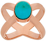 Bronze Turquoise X-Design Ring by Bronzo Italia - J321426