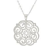 Vicenza Silver Sterling Open Work Pendant with Chain - J322826